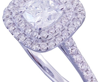 14k White Gold Cushion Cut Diamond Engagement Ring Soleste 1.65ctw F-VS2 EGL USA