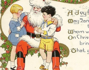 Santa Listening to Pair of Children's List of Wishes Vintage Christmas Postcard Interesting Party Invitation Note on Back
