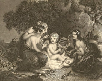 Cupid Taught By The Graces - Antique Engraving Painting by W Hilton Engraved by T B Welch for Graham's Magazine - Engraving from 1850s