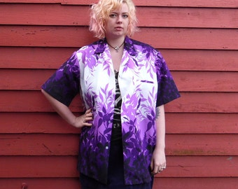 80s/90s Purple Ombre Hawaiian Polyester Short Sleeve Button Up Tropical Summer Aloha Shirt XL