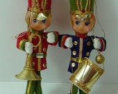 Vintage Pair of Tall Pixie Christmas Ornaments Drummer and Bugler Felt & Plastic