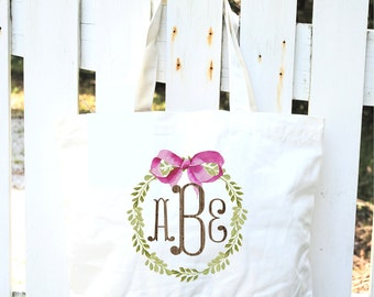 Monogram Cotton Canvas Tote Bag-Personalized Tote Bags-Monogrammed Canvas Bags-Bridesmaids Gifts-Bridal Party Favors-Couples Monogram Tote