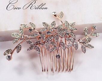 Rose Gold Bridal Hair Comb, Vintage Style Crystal Wedding Bridesmaid Flower Rhinestone Hair Pin Accessory E47