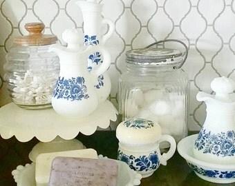 Vintage Avon bottles, set of 4, blue floral