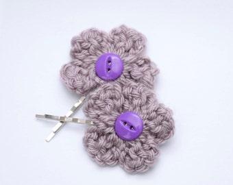 Lavender Flower Hairpins - Crochet Flowers - Bun Pins - Bobby Pins - Quinceanera Gift Idea - Little Girls Accessories - Bohemian Fashion