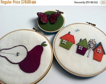 On Sale Pear House Butterfly hand embroidered hoop art wall housewarming wall decoration home decor by mlmxoxo