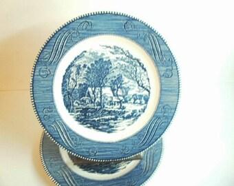 2 Vintage Royal China Currier & Ives Blue Dinner Plates Old Grist Mill