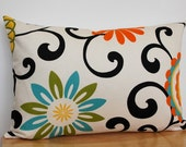 Floral Pillow Cover, Yellow Orange Throw Pillow, Turquoise Pillow Cover, Floral Cushion Cover, 12x18 Inch Floral Pillow