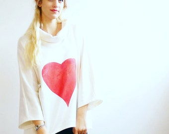 Heart Hand Printed British Made Sweater