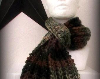 scarf - hand knit scarf - knit scarf - acrylic knit scarf - ruffle scarf - green scarf - brown scarf - green knit scarf - brown knit scarf