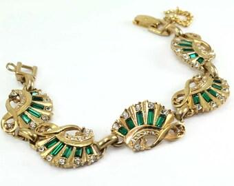 Lustern Emerald Baguette and Crystal Rhinestone Link Bracelet