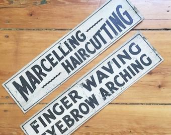 SALE Vintage 1920s Hair Salon Signs