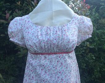 Regency Dress, Gown. Jane Austen. Cream/Pink Floral Print.