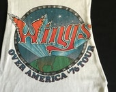1976 WINGS Over America Tour Shirt Upcycled Reworked Ringer Tank Small