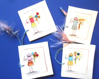Vintage Bridge Tally Cards, Girls With Balloons