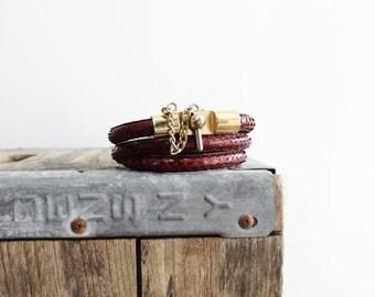 70s Snakeskin Lock Skinny Belt • Burgundy Leather Belt with Gold Lock • Thin Belt with Snake Skin    BT214