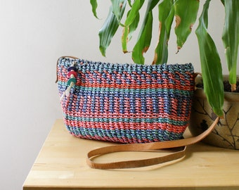 Straw Crossbody Bag • Woven Crossbody Bag • Festival Purse • Market Straw Bag • Boho Crossbody Bag • Striped Bag • Southwestern Bag  | B523