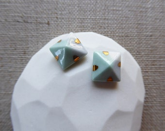 Tricolour Pyramid Stud Earrings