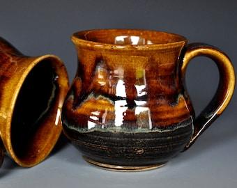 Pottery Mug Stoneware Ceramic Coffee Cup Handmade Mug Dark Umber