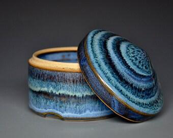 Blue Swirl Pottery Jar Ceramic Sugar Bowl  Pottery Sugar Bowl A
