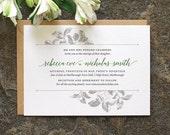 Botanical Wedding Invitation / 'Vintage Rose' Modern Calligraphy Simple Wedding Invite  / Sage Green and Grey or Custom Colours / ONE SAMPLE