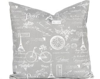 Gray Pillow Cover - Paris Script - Decorative Pillow Cover - Gray Throw Pillow Cover - Cushion Cover - French Script Fabric