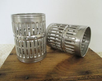 Vintage Metal Salvage - Mixed Media, Assemblage, Altered Art - Industrial Decor - Two in Lot - Textile Thread Dye Cylinders