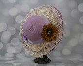 Tea Party Hat; Lavender Easter Bonnet with Ribbon; Girls Sun Hat; Lavender Easter Hat; Sunday Dress Hat; Derby Hat; 16241