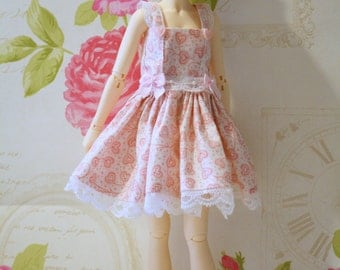 MSD Minifee, Unoa, Narae Dress one of a kind baby pink BJD 2 piece set. Dress, and waist charm