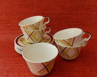 Vintage 1950s Edwin  Knowles Pacific Plaid Teacups and Saucers, Virginia Hamill Design, Brown and  Green Plaid, Set of 5