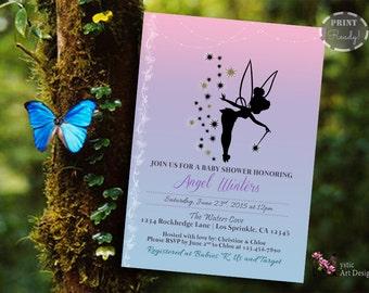 Tinkerbell Inspired Baby Shower Invitation, Printable Baby Custom Invite, Printable, Customized, Tinkerbell baby shower
