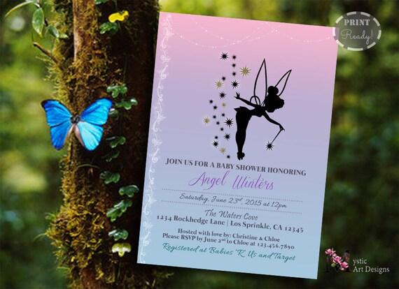 tinker bell baby shower invitation printable baby custom invite