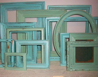 Set of 14 Shabby Chic Bright Robins Egg Blue  and Sea Foam Green Picture Frames for Gallery Wall, Wedding Decor, Nursery Decor