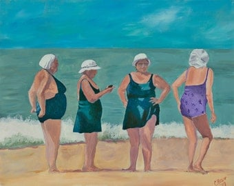 Sunbathers Stretched Canvas