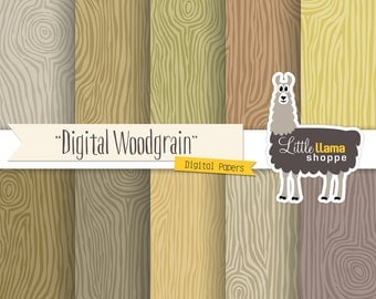50% Off - Faux Bois Wood Grain Scrapbook Paper, Wood Grain Digital Backgrounds, 8.5x11 and 12x12, Commercial Use, Instant Download