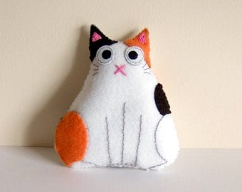 Calico fat cat plush plushie white orange and black spots kitty