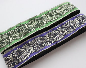 Jacquard ribbon trim Paisley by meter. Green and purple