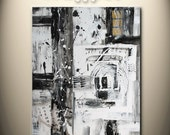 ON SALE,black and white,gold, 24x20 inch original abstract painting, textured, on stretched canvas, ready to hang