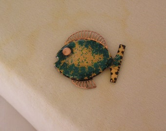 Matisse copper and teal enamel Pesca fish brooch