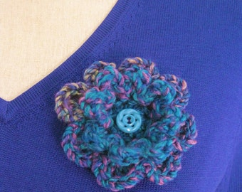 Crochet Flower Pin-Turquoise Flower Pin-Blue Flower Brooch-Crochet Flower-Crochet Flower with Button-Crocheted Pin-Crochet Brooch