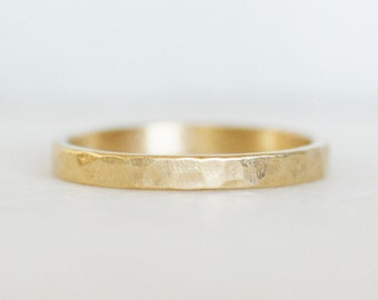 Hammered Gold Wedding Band - 2.5x1.25mm Hammered Gold Band - Choose 14k or 18k Gold - Eco-Friendly Recycled Gold