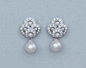 Vintage Pearl Bridal Earrings, Deco Pearl Earrings, Vintage Wedding Jewelry, Pearl Bridesmaid Earrings MONIQUE II