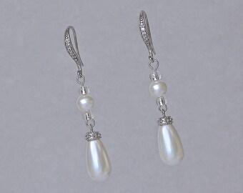 Pearl Drop Earrings, Pearl Bridal Earrings, Crystal Earrings, Pearl Wedding Earrings, Clip on Earrings Option,