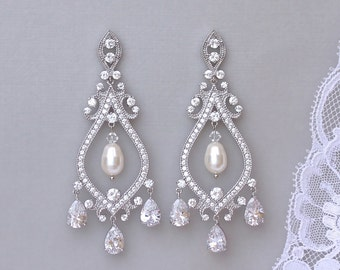Crystal Chandelier Earrings, Chandelier Bridal Earrings, Long Crystal Earrings, Statement Earrings, Wedding Jewelry, TERESA