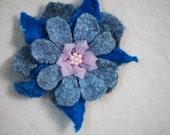 Valentine's Day Gift Grey Blue Pink Flower Brooch Pin