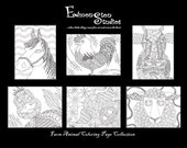 Farm Animals Adult Coloring Pages Instant Download Set Anti Stress Relief Therapy High Detail Hand Drawn Art Older Children+