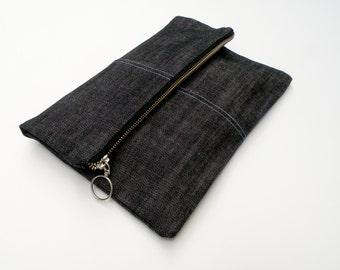 Large Pouch - Foldover Clutch - Dark Grey Jean Handbag - Travel Pouch - Organizer