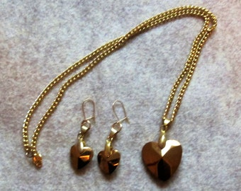 Burnished Gold Heart Necklace and Earring Set