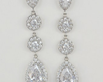 Bridal Cubic Zirconia Crystal Stud Drop Earrings, Sarah Earrings - Ships in 1-3 Business Days