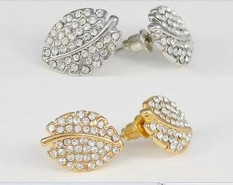 Crystal Leaf Earrings, Stud Earrings, Silver Tone, Gold Tone, Heather Earrings - Will Ship in 1 business Day